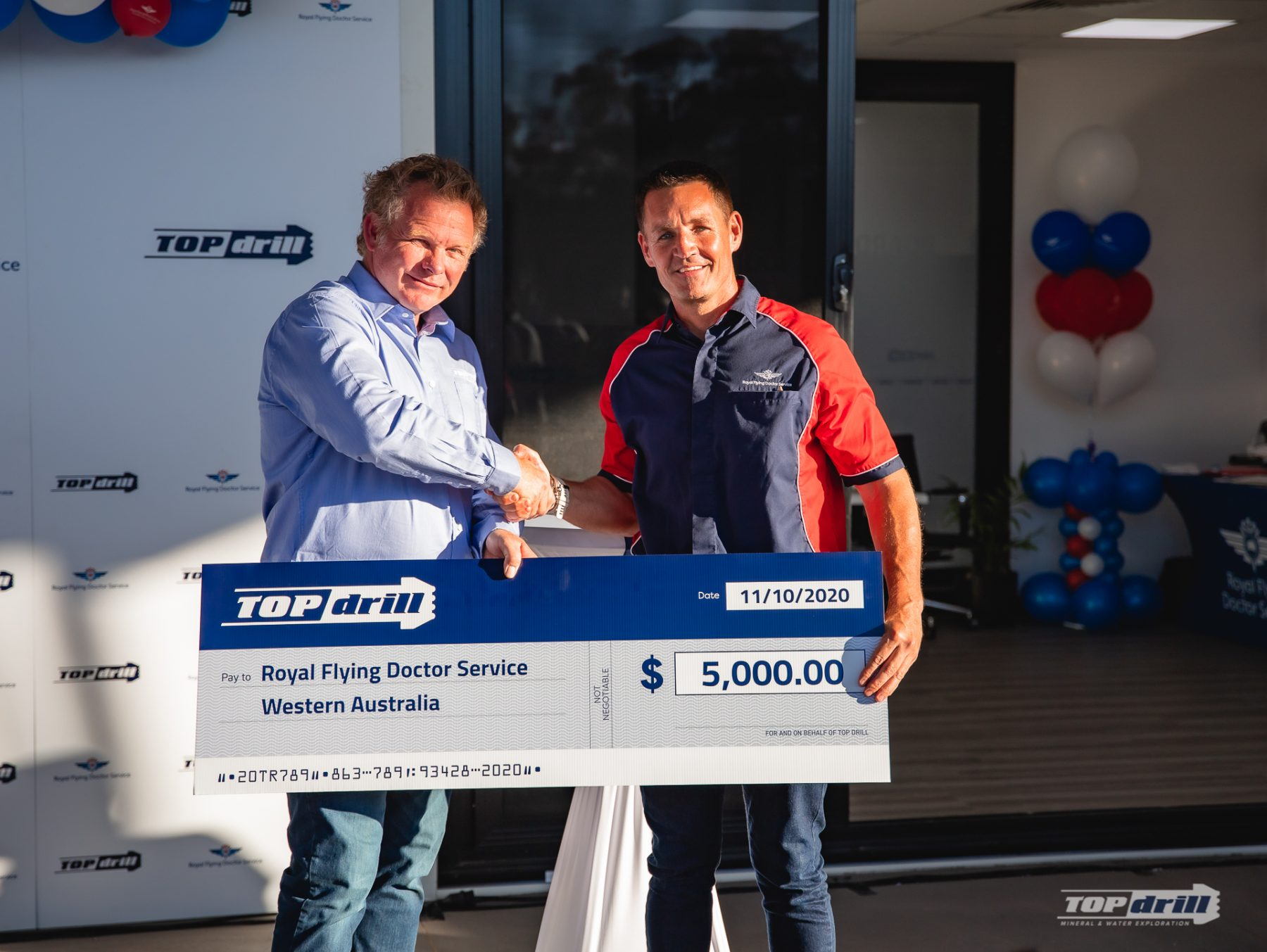 Donation Cheque from Topdrill to Royal Flying Doctor Service